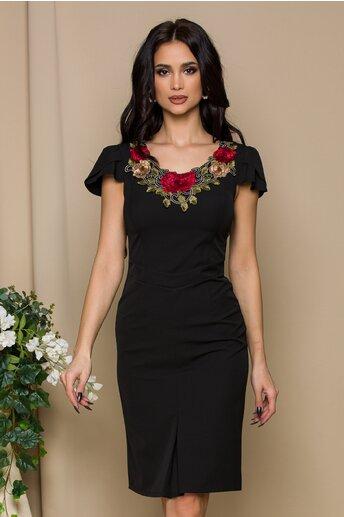 Rochie Astrid neagra cu broderie florala