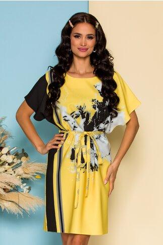 Rochie Asy galbena cu imprimeu negru