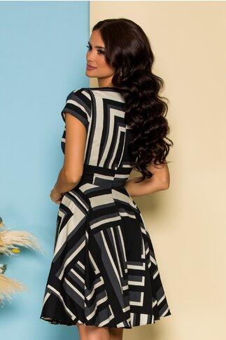 Rochie Asya neagra cu imprimeuri geometrice