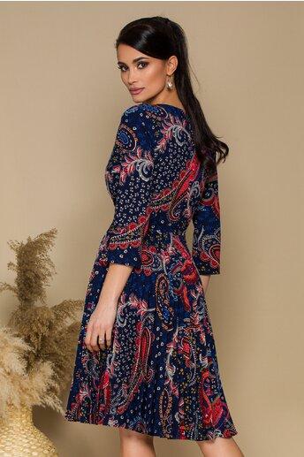Rochie Atena bleumarin cu imprimeu floral multicolor si pliuri pe fusta