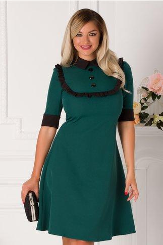 Rochie Atena verde cu detalii negre