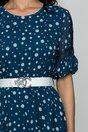 Rochie Aurora albastra cu buline si volanas la baza