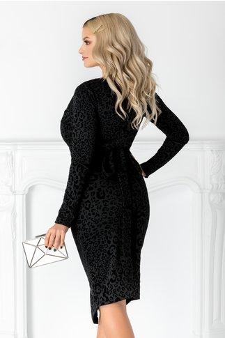 Rochie Aurora neagra cu animal print