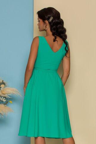 Rochie Aurora verde cu design petrecut si lungime asimetrica