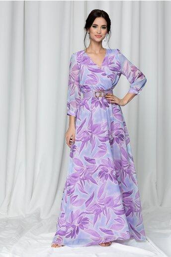 Rochie Ava lunga cu imprimeu floral mov