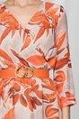 Rochie Ava lunga cu imprimeu floral portocaliu