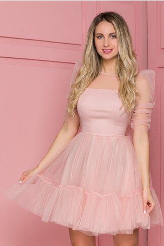 Rochie Axara roz cu fundita in talie