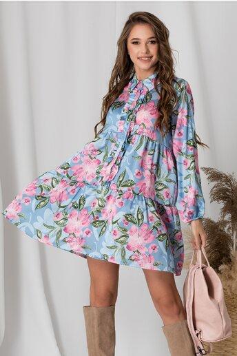 Rochie Axi bleu cu flori roz si volanas la bust
