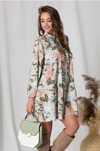 Rochie Axi maro cu flori verzi si volanas la bust