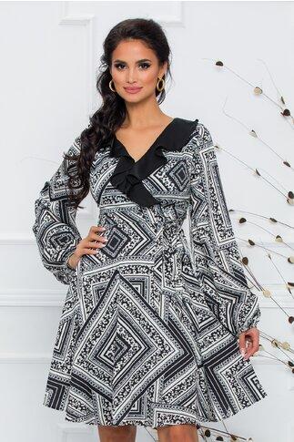 Rochie Ayana neagra cu imprimeu divers alb-gri