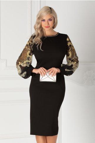 Rochie Ayana neagra cu maneci din voal cu print si margelute la guler