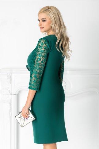 Rochie Ayana verde cu dantela pe o parte