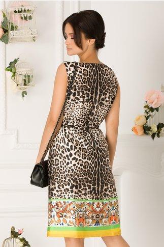 Rochie Aylin bej cu print leopard si imprimeu floral la baza