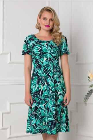 Rochie Azely ivoire cu imprimeu tropical in nuante de verde