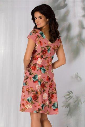 Rochie Azely roz coniac cu imprimeu floral