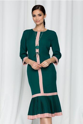 Rochie Bailey verde tip sirena cu maneci trei sferturi