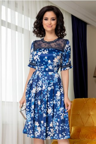 Rochie Barbara albastra cu imprimeuri si dantela la decolteu