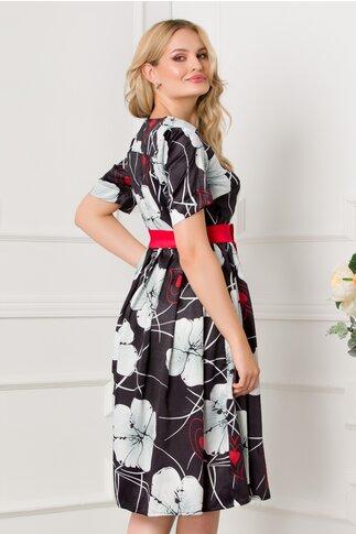 Rochie Barbara neagra cu imprimeu floral si cordon in talie