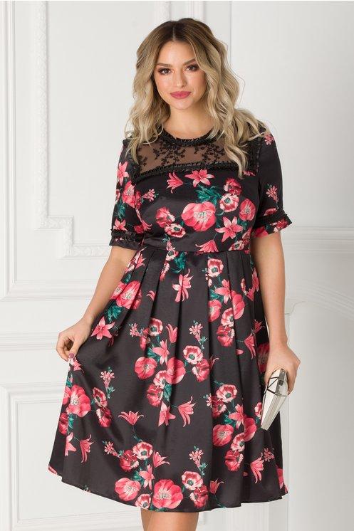 Rochie Barbara neagra cu imprimeuri florale rosii si dantela la decolteu