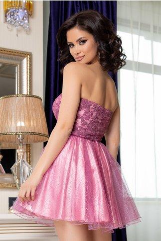 Rochie Barby roz cu fusta din tull si sclipici