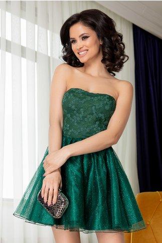 Rochie Barby verde cu fusta din tull si sclipici