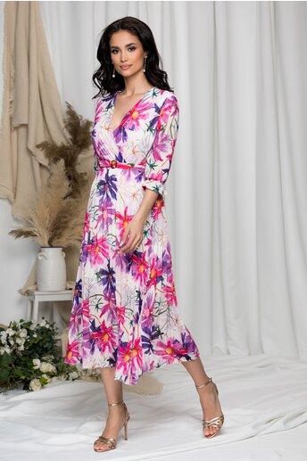 Rochie Beatrice alba cu imprimeu floral