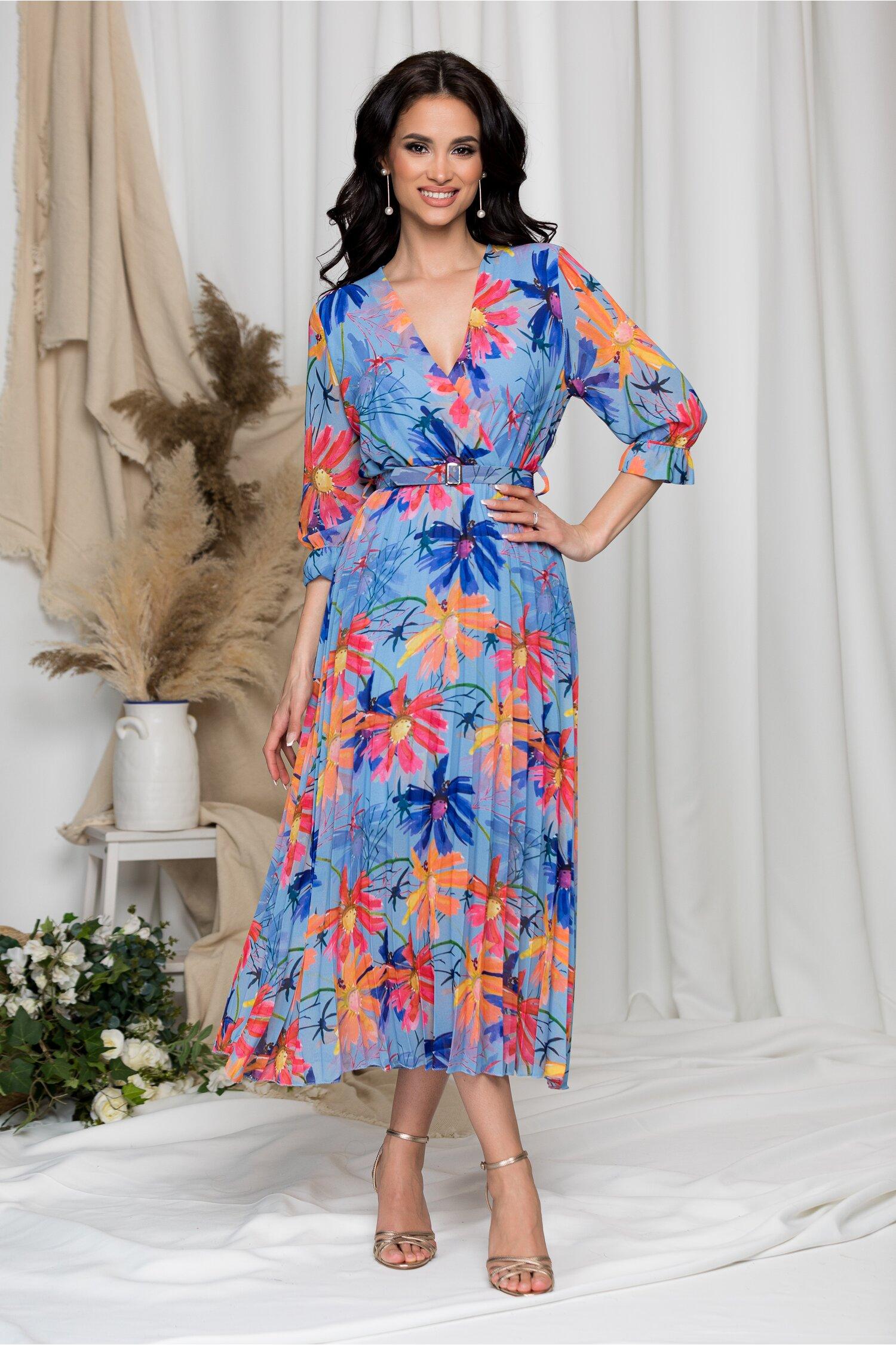 Rochie Beatrice bleu cu imprimeu floral imagine dyfashion.ro 2021