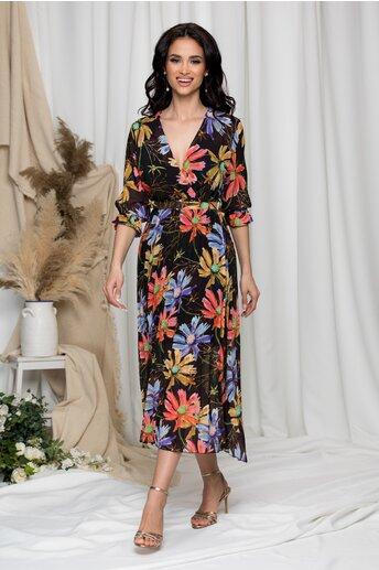 Rochie Beatrice neagra cu imprimeu floral