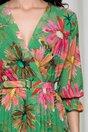 Rochie Beatrice verde cu imprimeu floral