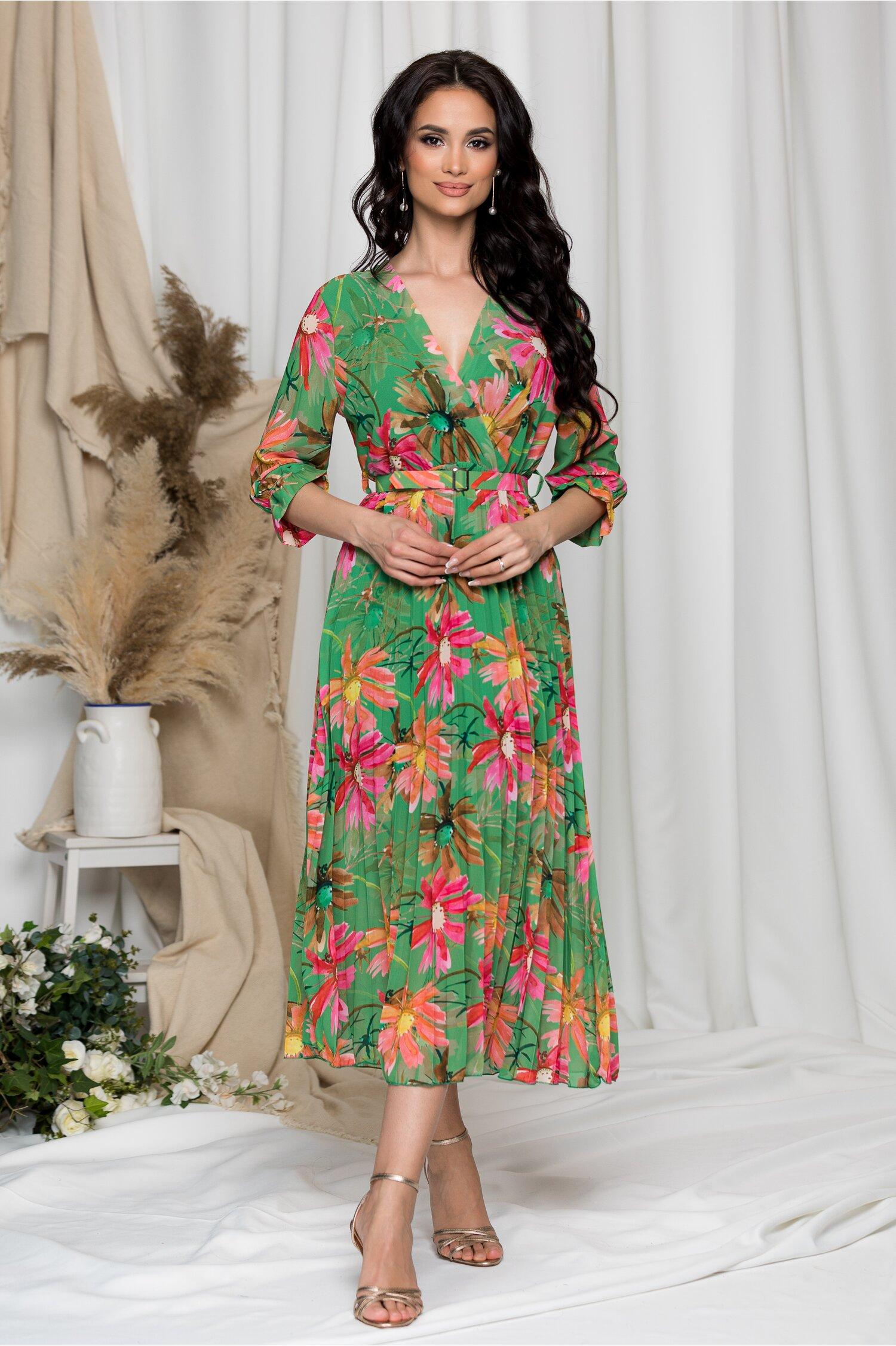 Rochie Beatrice verde cu imprimeu floral imagine dyfashion.ro 2021