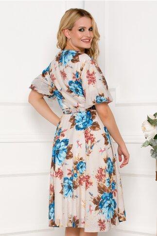 Rochie bej cu imprimeu floral albastru si cordon in talie