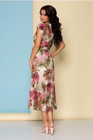 Rochie bej cu imprimeu floral si maneci scurte creponate