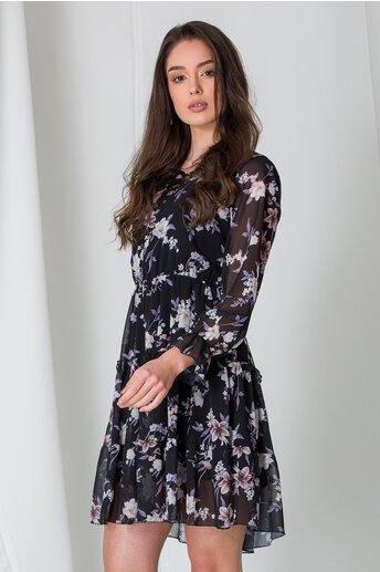 Rochie Bela neagra cu flori lila si snur la decolteu