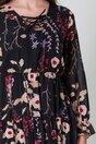 Rochie Bela neagra cu flori si snur la decolteu