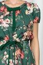 Rochie Belina verde cu imprimeu floral si fundita