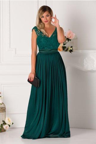 Rochie Belinda verde smarald lunga cu broderie la bust