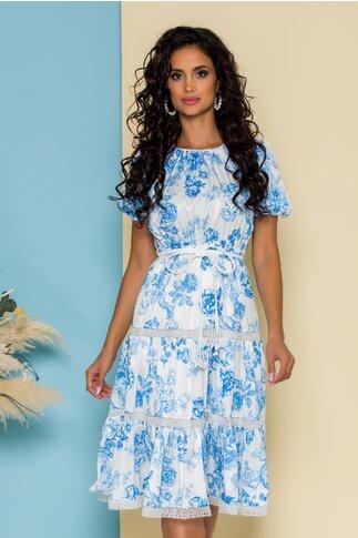 Rochie Bella alba cu imprimeuri florale bleu