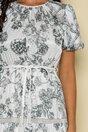Rochie Bella alba cu imprimeuri florale kaki