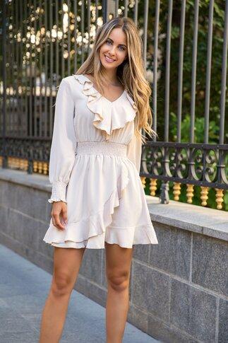 Rochie Bella beige cu volane si talie elastica