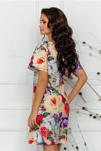 Rochie Bella bej cu imprimeu floral multicolor