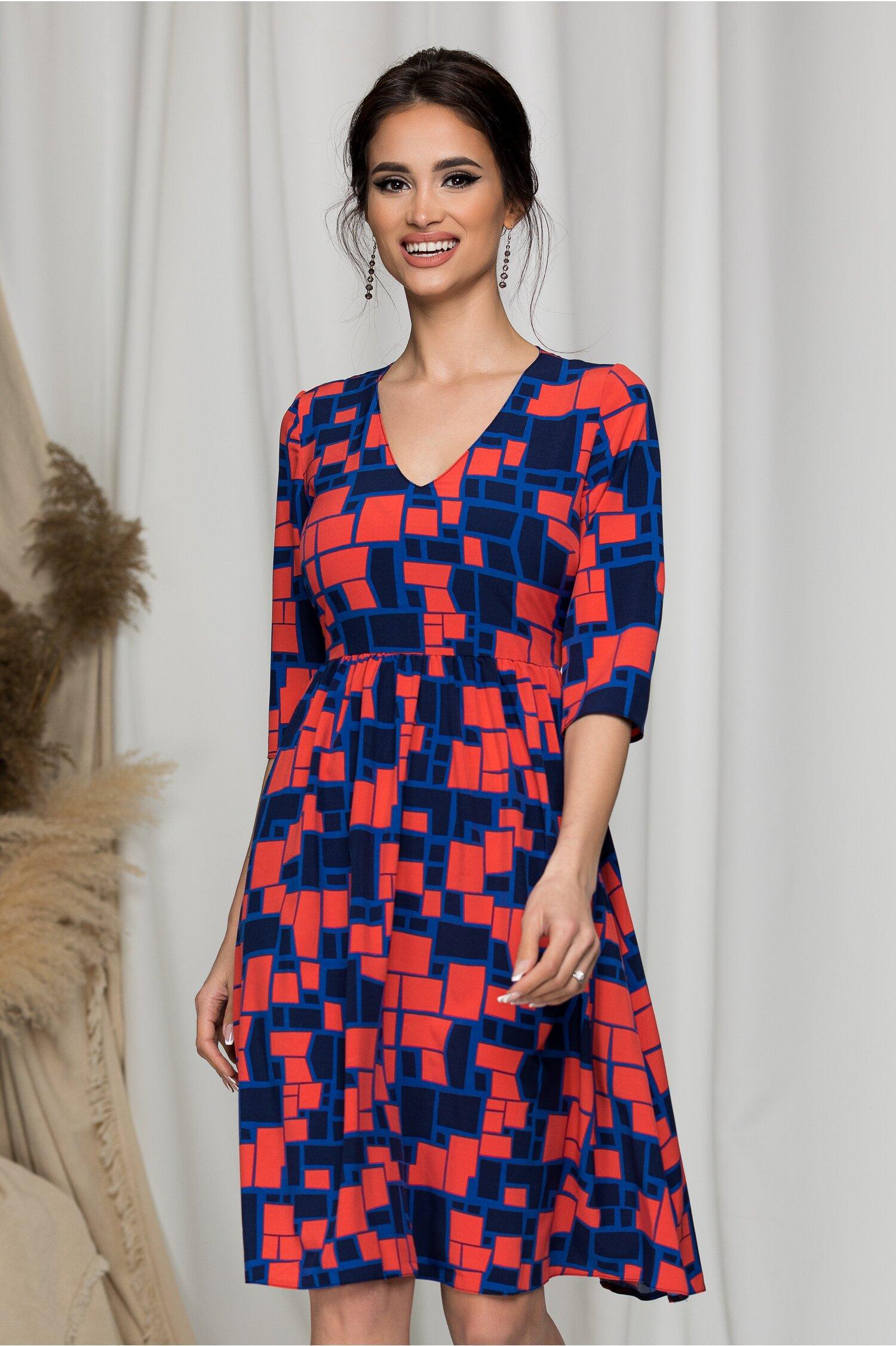 Rochie Bella bleumarin cu imprimeuri geometrice corai