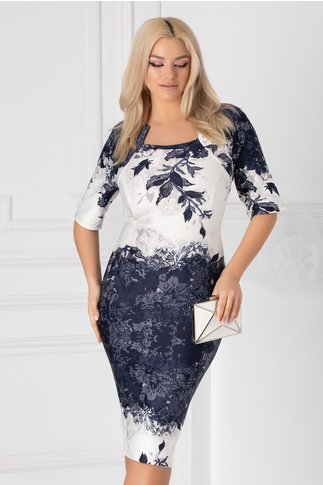 Rochie Bella cu imprimeu floral bleumarin