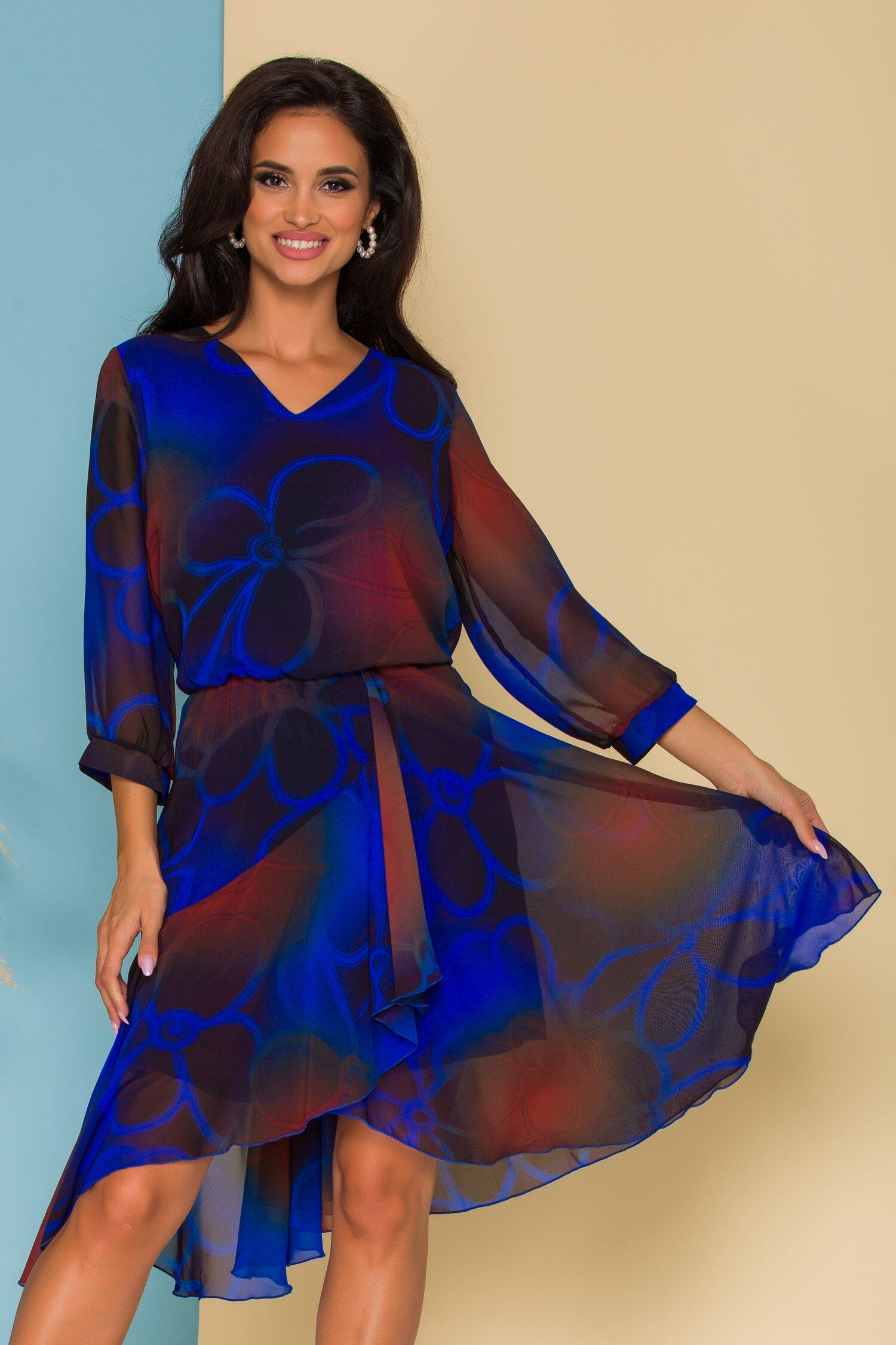 Rochie Bella cu imprimeuri albastre si desgin petrecut pe fusta