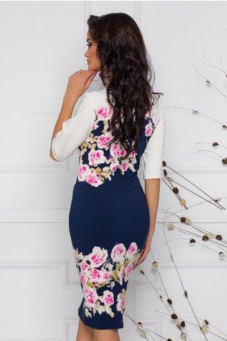Rochie Bella ivoire cu bleumarin si trandafiri roz