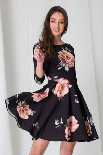 Rochie Bella neagra cu trandafiri