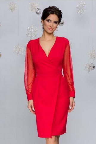 Rochie Bella rosie cu design petrecut si maneci din tull