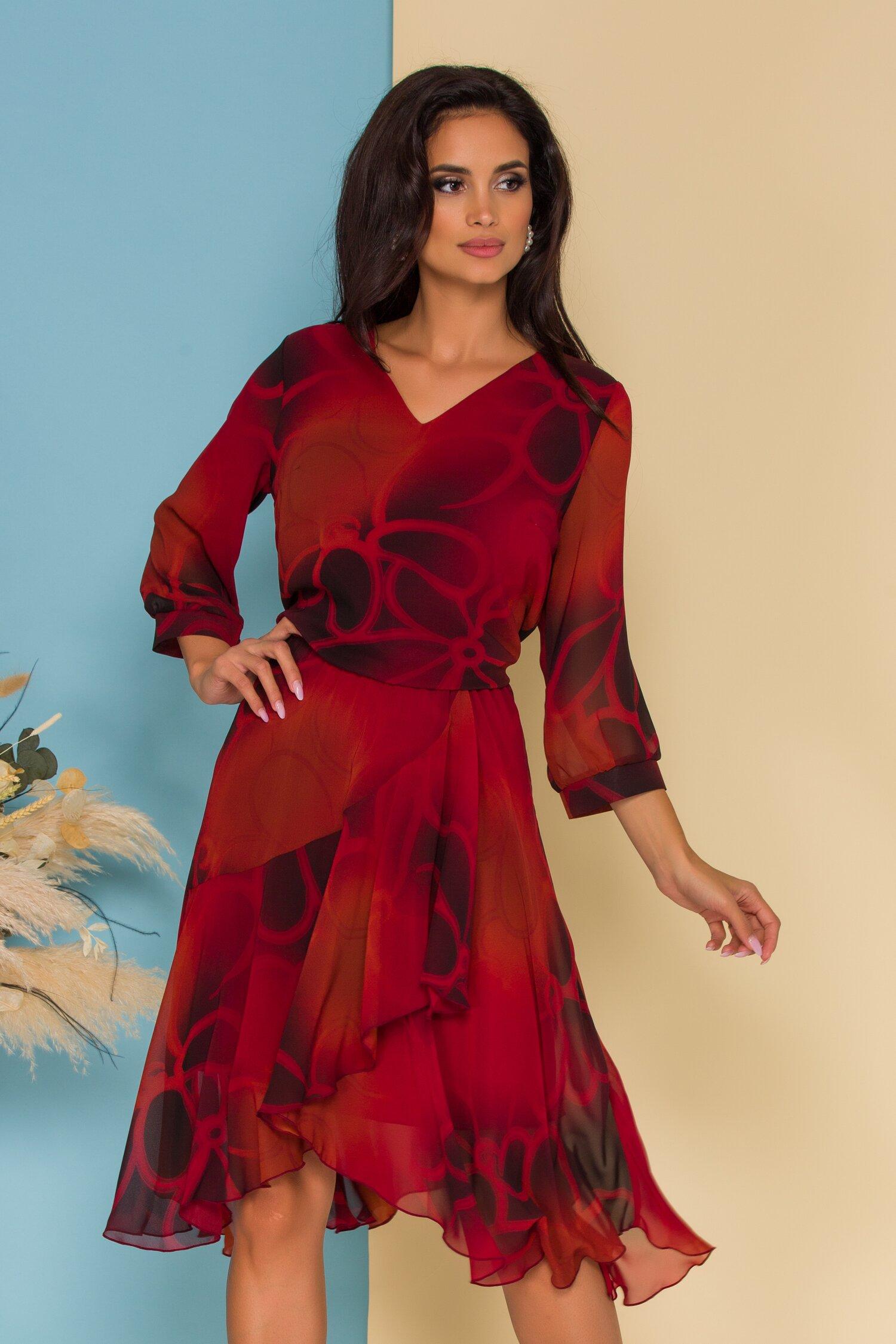 Rochie Bella rosie cu imprimeuri si desgin petrecut pe fusta imagine dyfashion.ro 2021