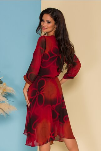 Rochie Bella rosie cu imprimeuri si desgin petrecut pe fusta