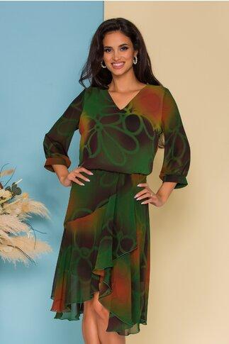 Rochie Bella verde cu imprimeuri si desgin petrecut pe fusta