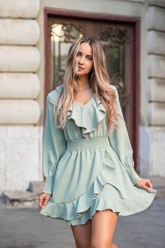 Rochie Bella verde cu volane si talie elastica
